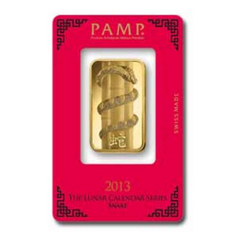 PAMP Suisse One Ounce Gold Bar - 2013 Snake Design #PAPPS77835