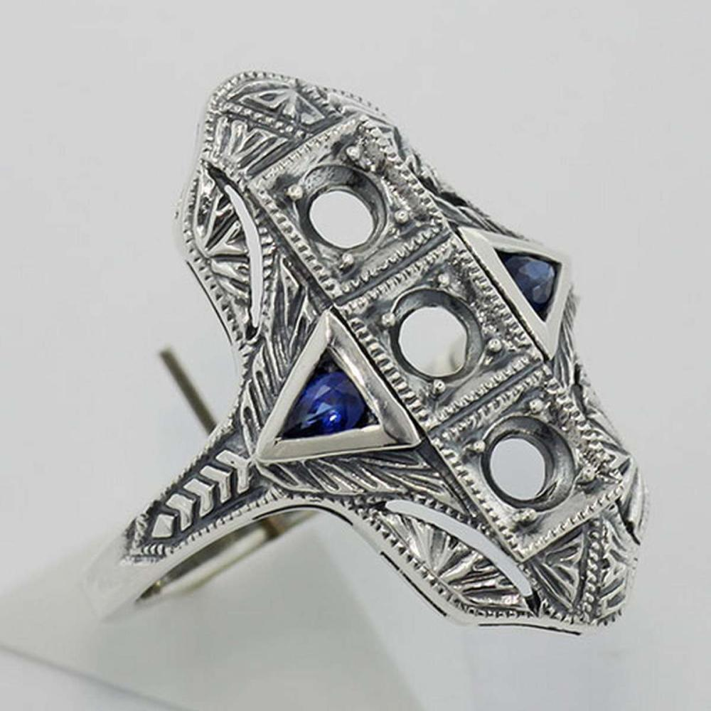 Art Deco Style Semi Mount Ring w/ Sapphire Accents - Sterling Silver #PAPPS98347