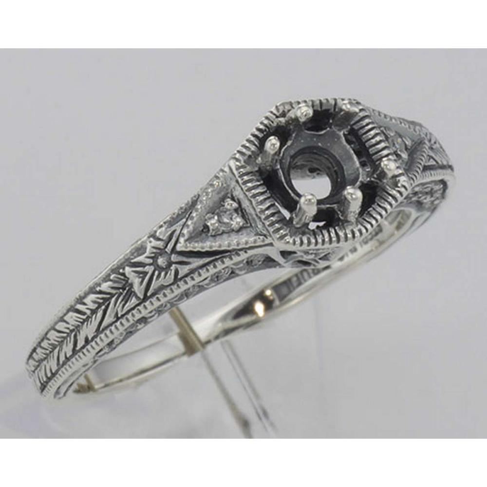 Semi Mount Victorian Style Filigree Ring w/ 2 Diamonds - Sterling Silver #PAPPS98518