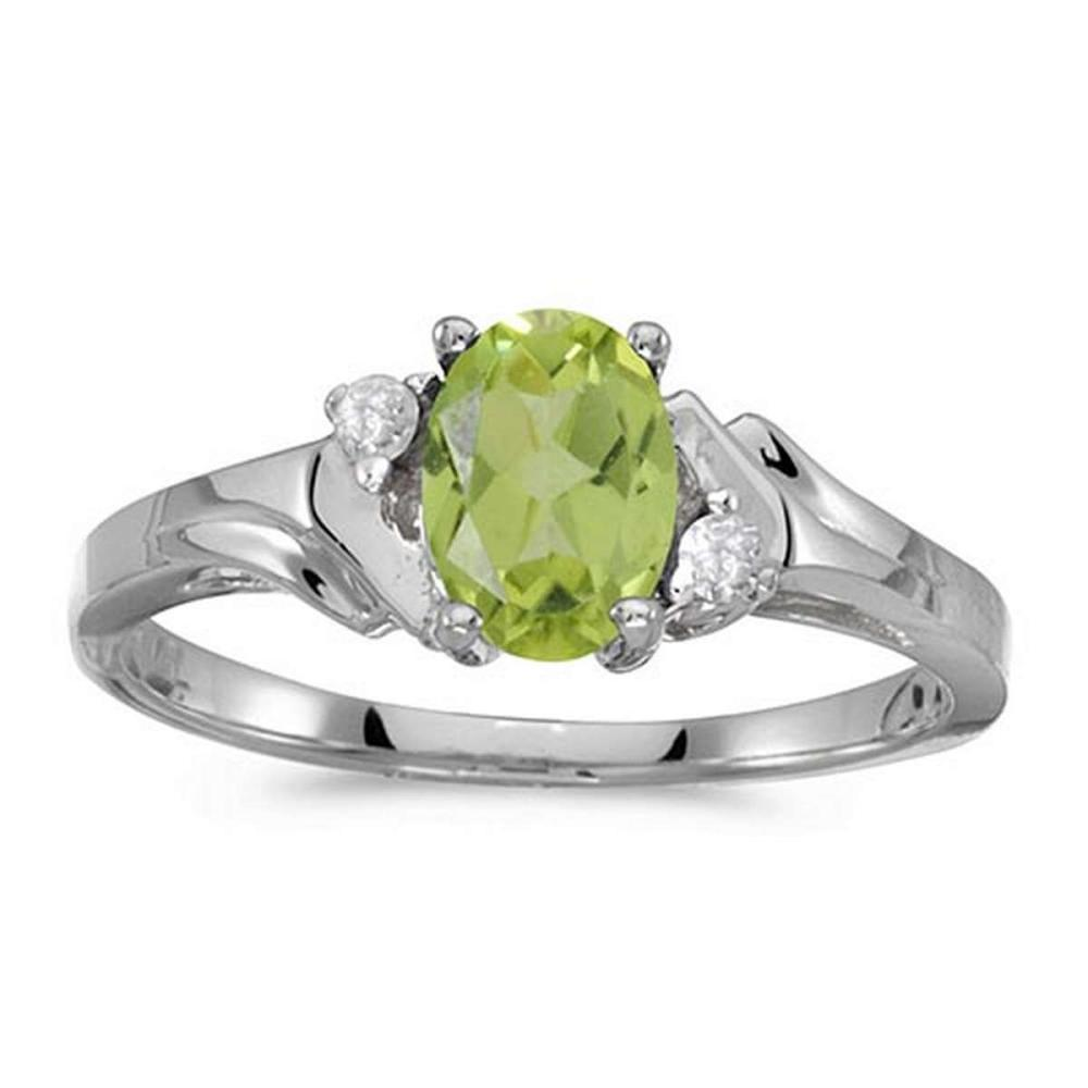 Certified 10k White Gold Oval Peridot And Diamond Ring 0.71 CTW #PAPPS50935