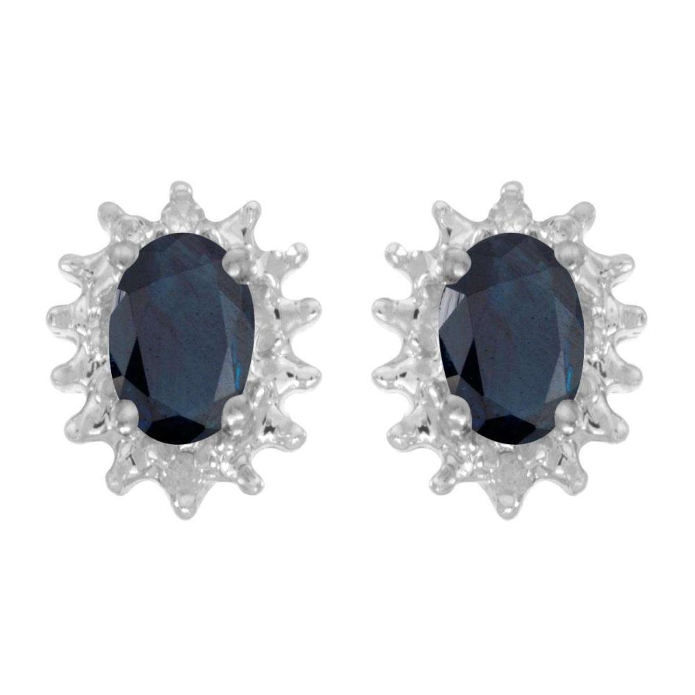 Certified 14k White Gold Oval Sapphire And Diamond Earrings 0.82 CTW #PAPPS25832