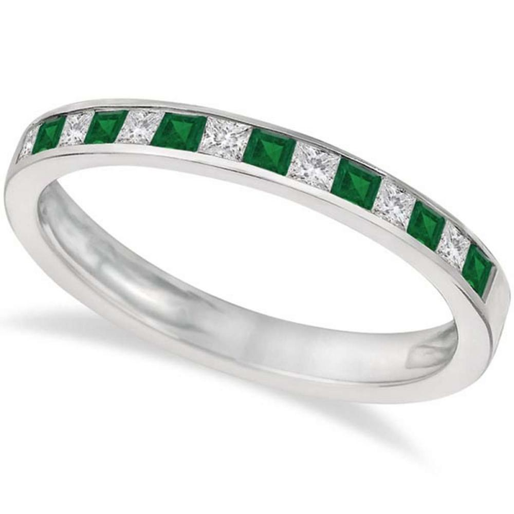 Channel Set Diamond and Emerald Ring Band 14k White Gold (0.60ct) #PAPPS21243