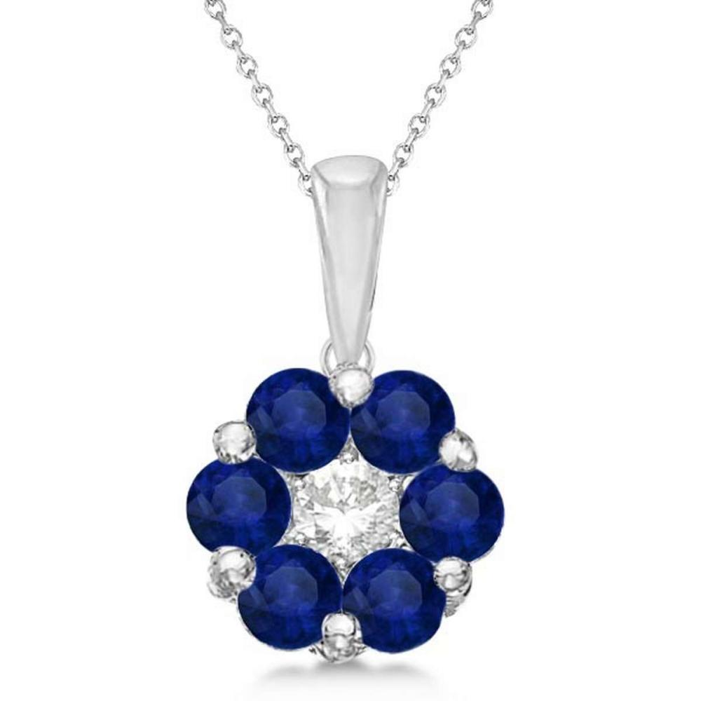 Flower Diamond and Blue Sapphire Pendant Necklace 14k White Gold (1.40ct) #PAPPS21205