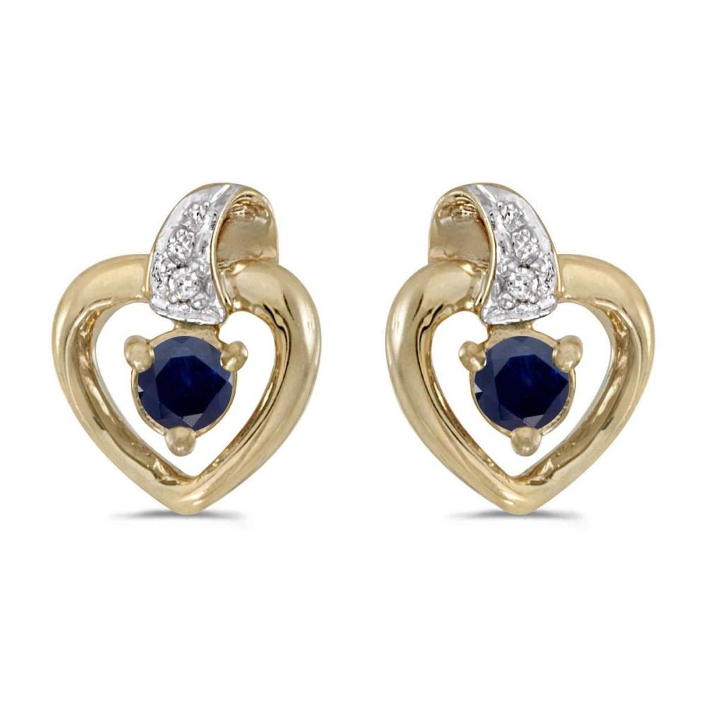 Certified 10k Yellow Gold Round Sapphire And Diamond Heart Earrings 0.19 CTW #PAPPS25798