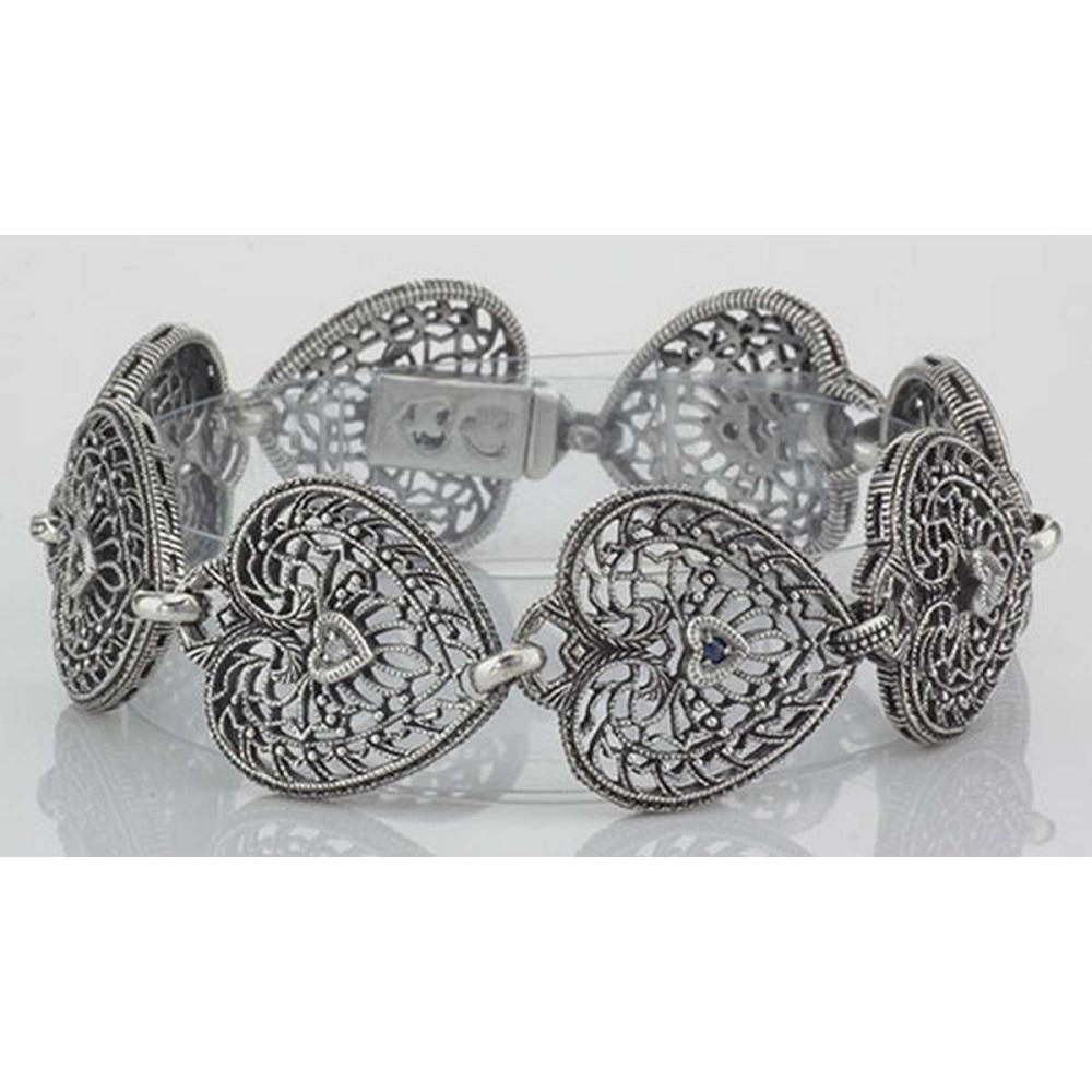 Victorian Style Filigree Heart Bracelet Diamond and Sapphire Sterling Silver #PAPPS98423