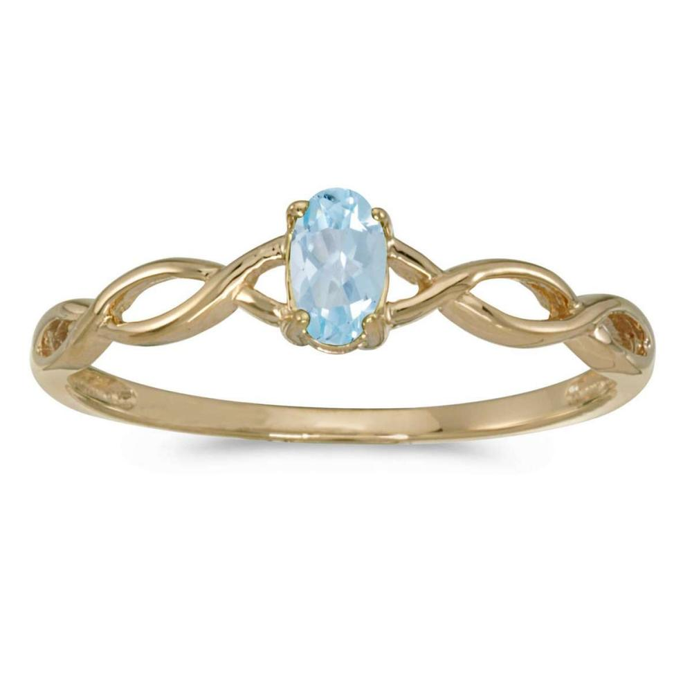 Certified 10k Yellow Gold Oval Aquamarine Ring 0.14 CTW #PAPPS25641