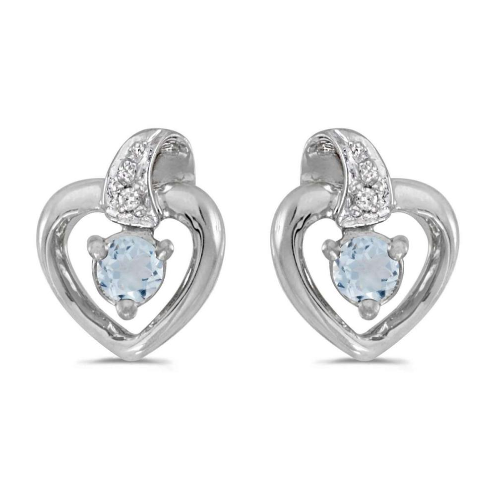 Certified 10k White Gold Round Aquamarine And Diamond Heart Earrings 0.15 CTW #PAPPS25804