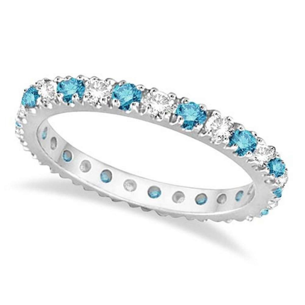Fancy Blue and White Diamond Eternity Ring Band 14K White Gold (0.50ct) #PAPPS53865