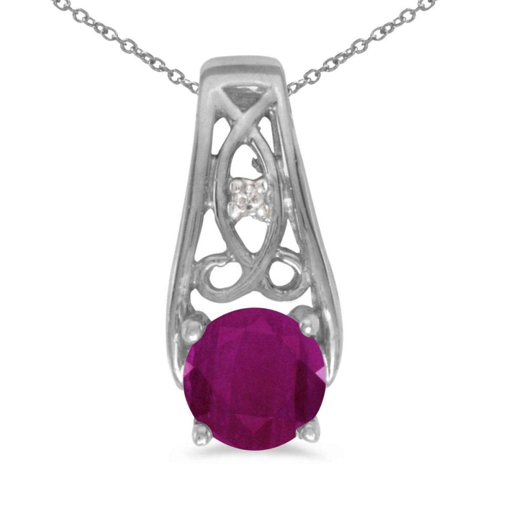 Certified 14k White Gold Round Ruby And Diamond Pendant 0.51 CTW #PAPPS25160