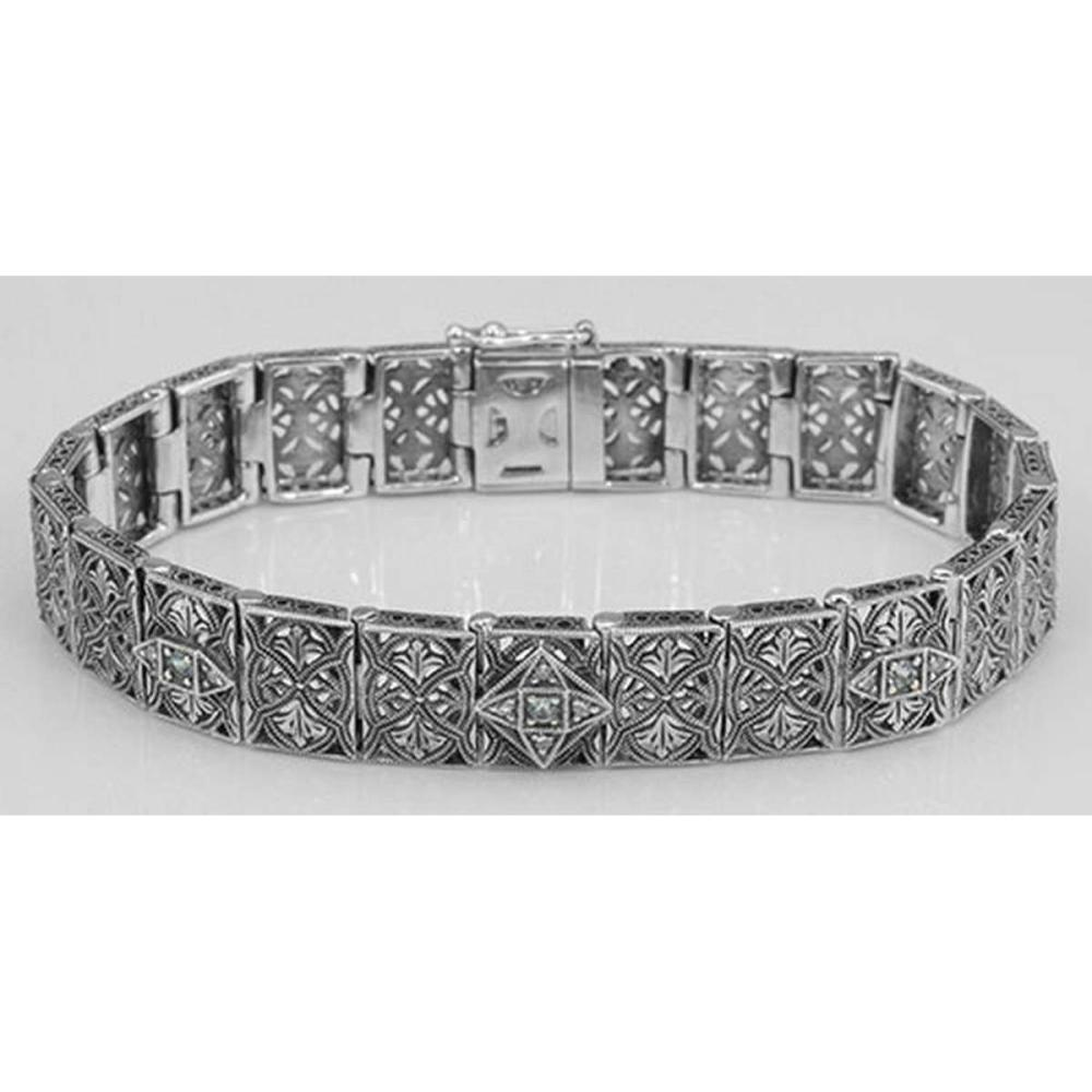 Victorian Style Blue Topaz and Diamond Filigree Link Bracelet - Sterling Silver #PAPPS98556