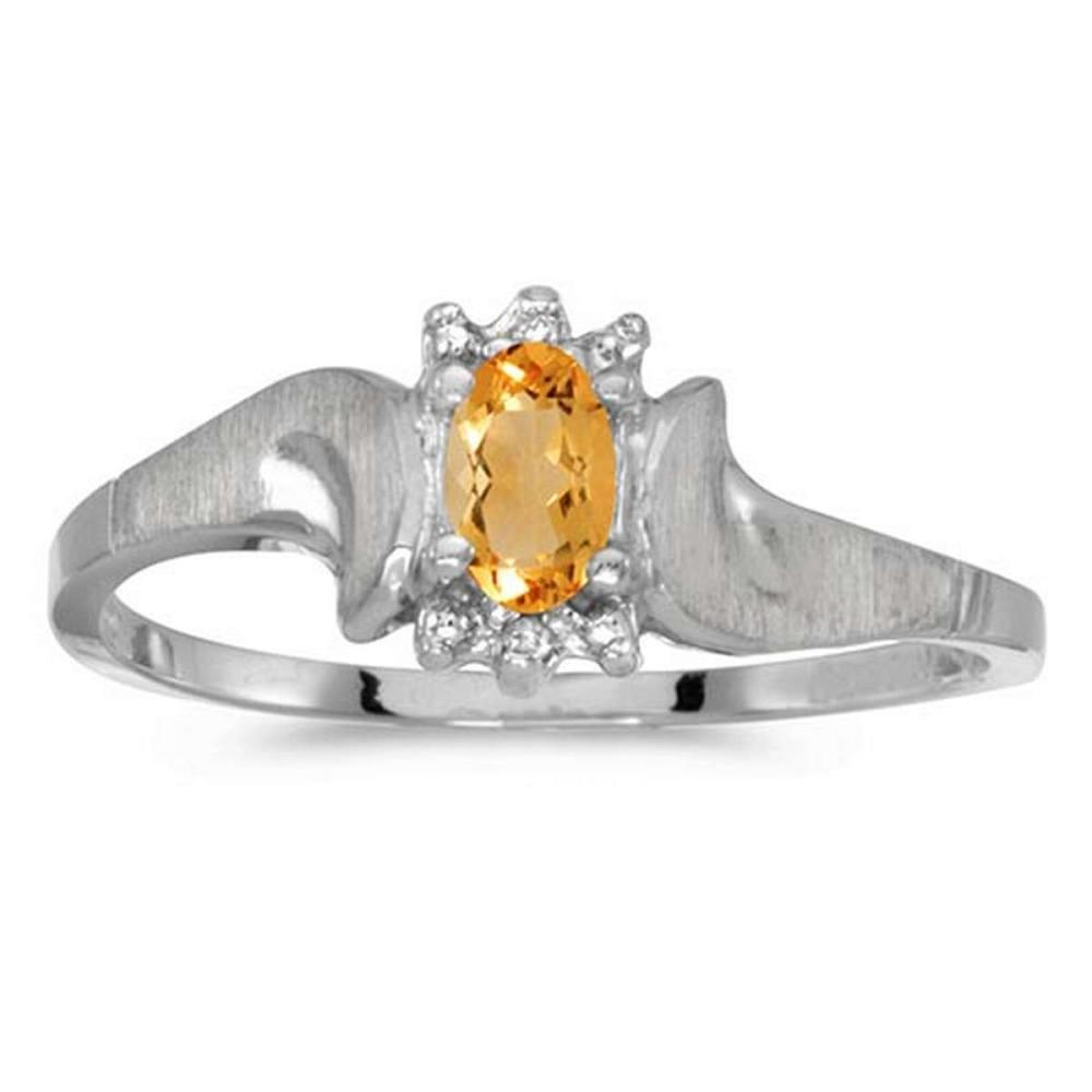Certified 14k White Gold Oval Citrine And Diamond Satin Finish Ring 0.16 CTW #PAPPS50938