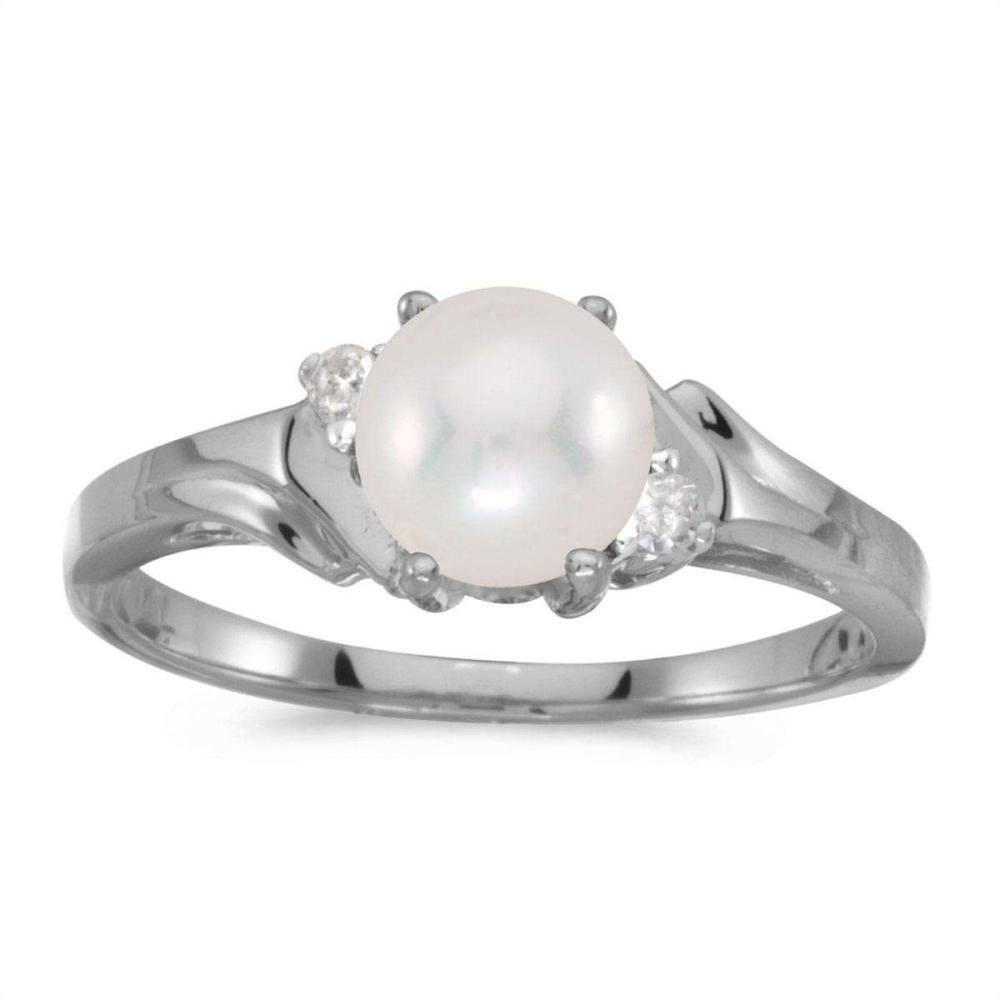 Certified 10k White Gold Pearl And Diamond Ring 0.04 CTW #PAPPS25652