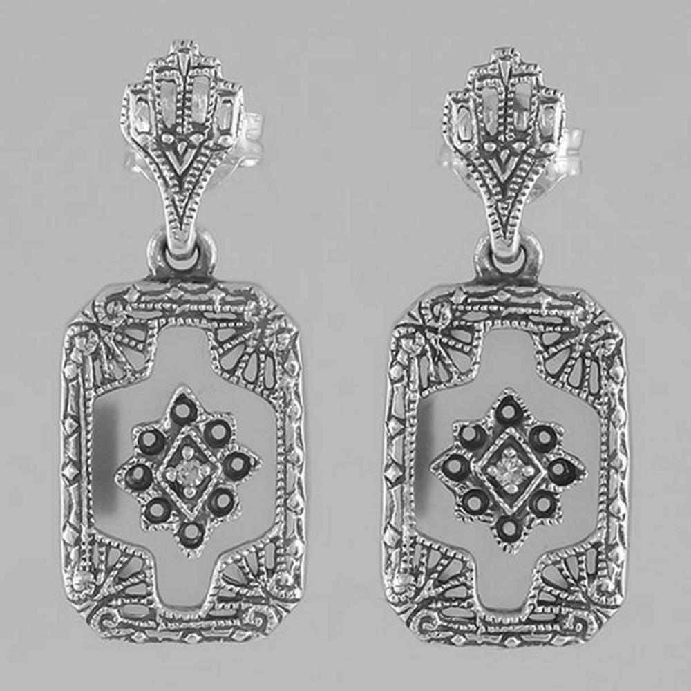 Victorian Style Camphor Glass / Diamond Filigree Earrings - Sterling Silver #PAPPS98551