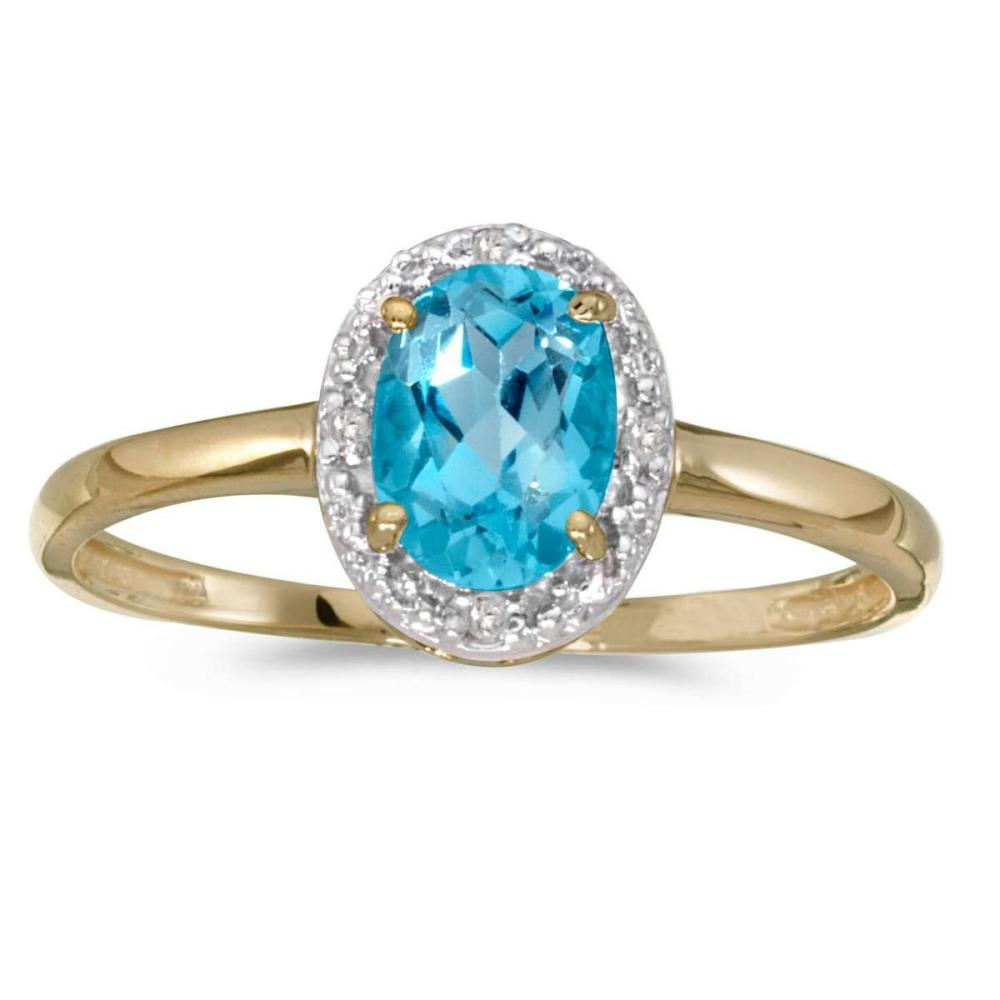 Certified 10k Yellow Gold Oval Blue Topaz And Diamond Ring 0.68 CTW #PAPPS25639