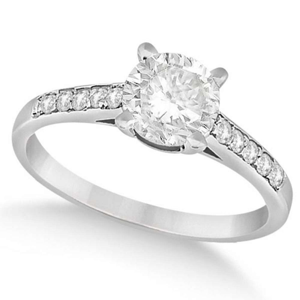 Cathedral Style Round Diamond Engagement Ring 14k White Gold (1.00ct) #PAPPS21146