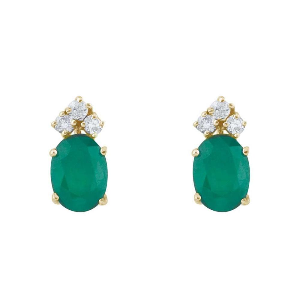 Certified 14k Yellow Gold Emerald And Diamond Oval Earrings #PAPPS26914