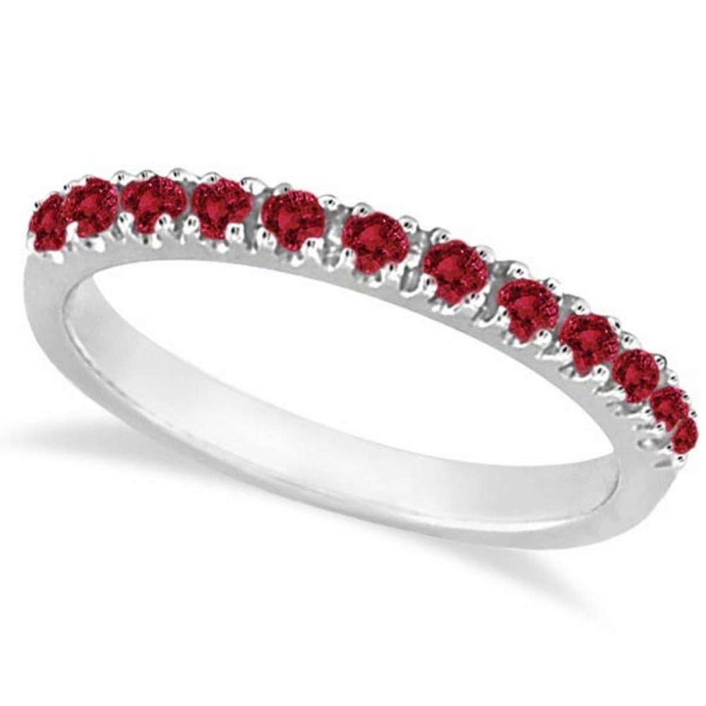 Garnet Stackable Ring Guard Band 14K White Gold (0.37ct) #PAPPS21281