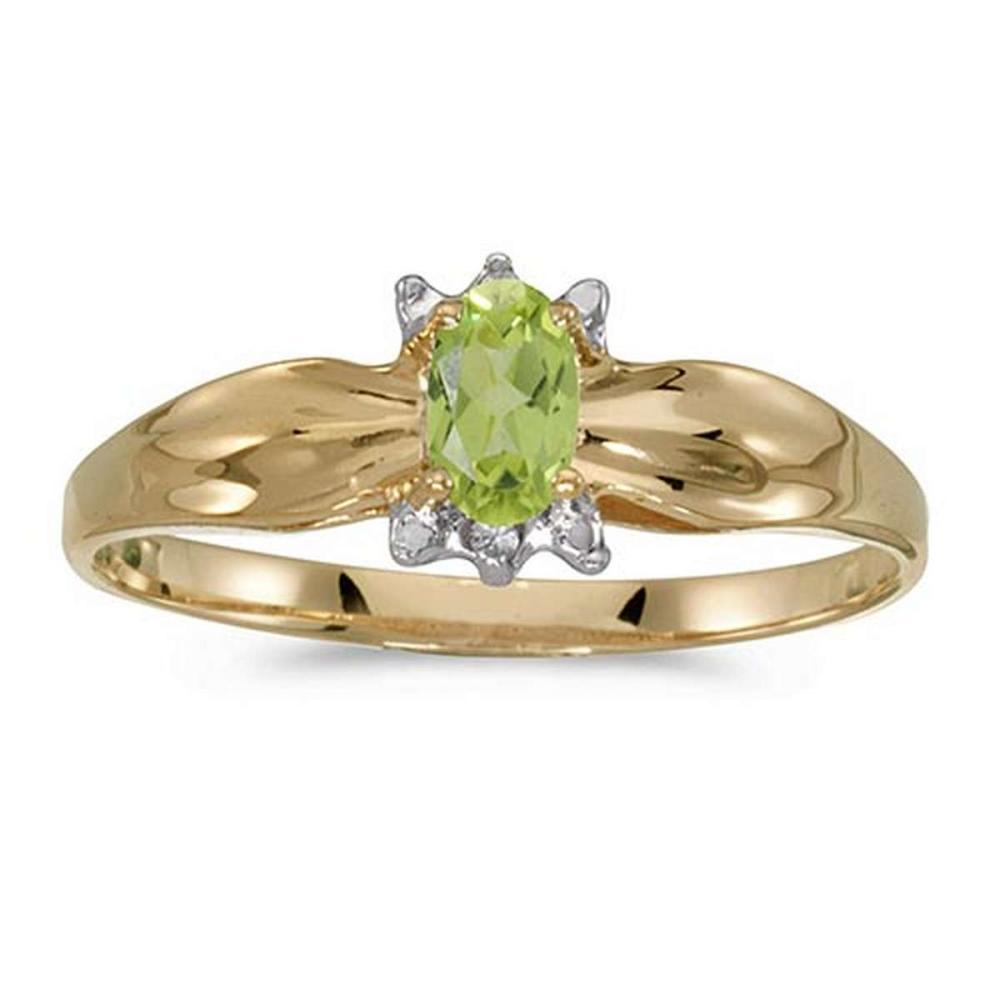 Certified 14k Yellow Gold Oval Peridot And Diamond Ring 0.2 CTW #PAPPS50648