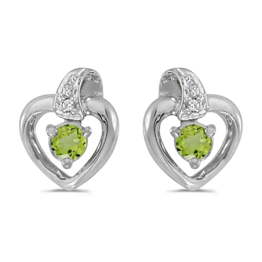 Certified 10k White Gold Round Peridot And Diamond Heart Earrings 0.19 CTW #PAPPS25808