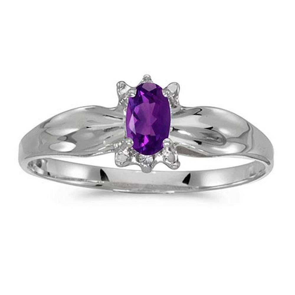Certified 14k White Gold Oval Amethyst And Diamond Ring 0.19 CTW #PAPPS50615