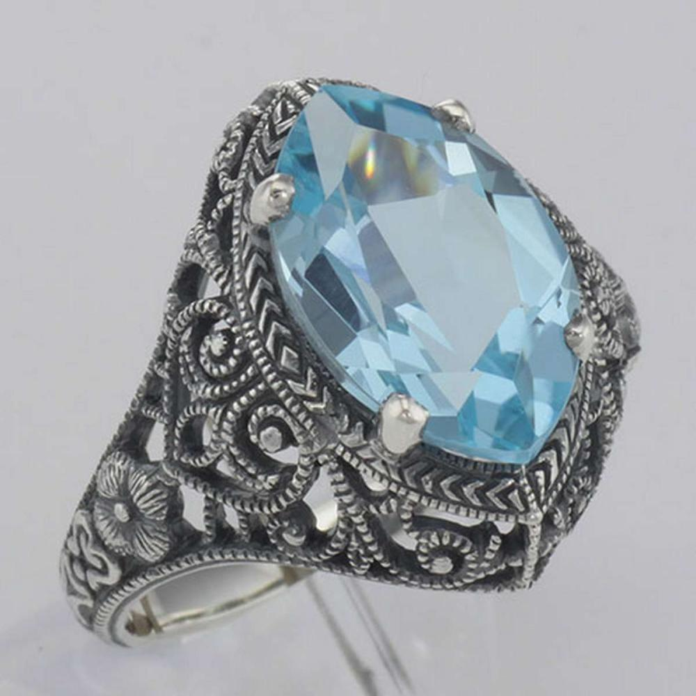 Beautiful 3 Carat Victorian Style Blue Topaz Filigree Ring Sterling Silver #PAPPS98507