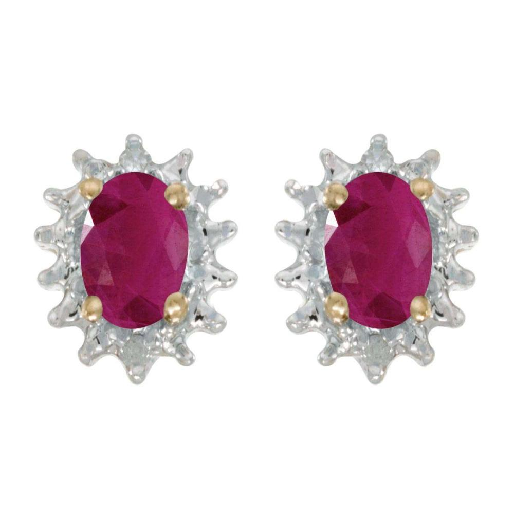 Certified 14k Yellow Gold Oval Ruby And Diamond Earrings 0.76 CTW #PAPPS25820
