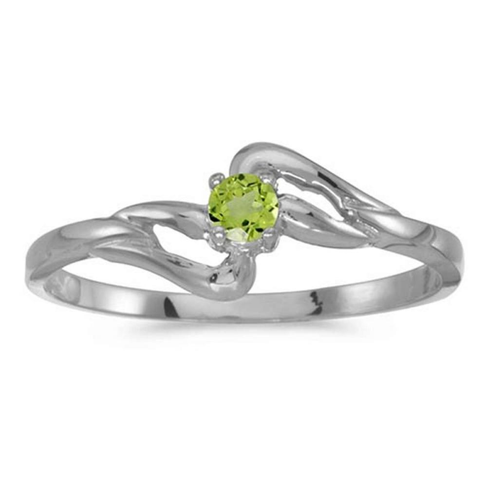 Certified 14k White Gold Round Peridot Ring 0.09 CTW #PAPPS50616