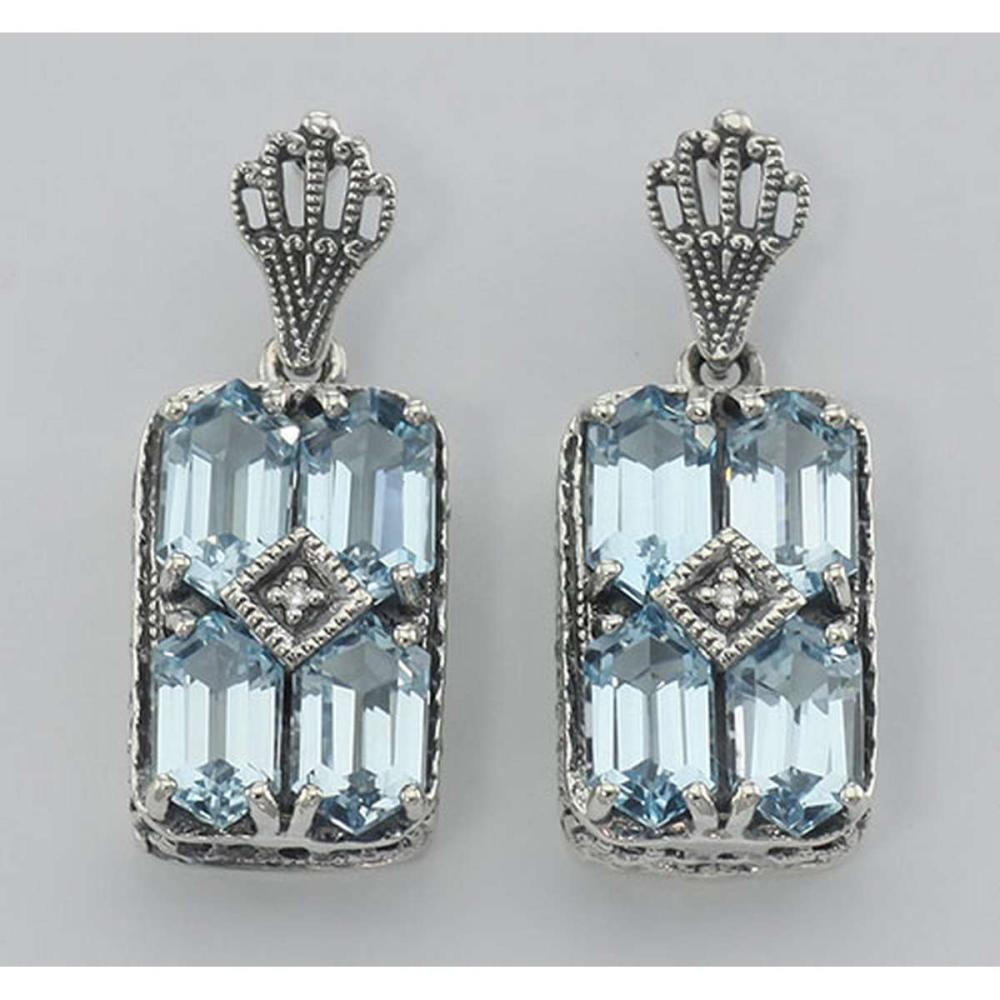Art Deco Style Blue Topaz w/ Diamond Earrings - Sterling Silver #PAPPS98369