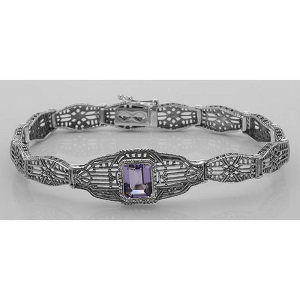 Victorian Style Amethyst Filigree Link Bracelet in Fine Sterling Silver #PAPPS98564