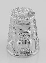 Classic Antique Style Owl Sewing Thimble in Fine Sterling Silver #PAPPS97394