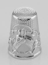 Antique Style Silver Horse / Donkey Head Sewing Thimble Sterling Silver #PAPPS97395