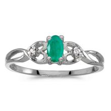Certified 10k White Gold Oval Emerald And Diamond Ring 0.18 CTW #PAPPS51492