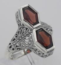 Unique Art Deco Style 2 Carat Red Garnet Filigree Ring - Sterling Silver #PAPPS97269