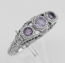 Amethyst Filigree Ring w/ 4 Diamonds - Sterling Silver #PAPPS97470