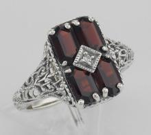 Antique Style 2 Carat Garnet Filigree Ring with Diamond - Sterling Silver #PAPPS97270