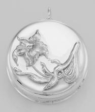 Art Nouveau Style Lily Pillbox / Pendant in Fine Sterling Silver #PAPPS97285