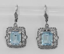 Art Deco Style Filigree 8 Carat TW Blue Topaz Earrings - Sterling Silver #PAPPS97603