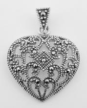 Victorian Style Openwork Marcasite Heart Pendant - Sterling Silver #PAPPS97298