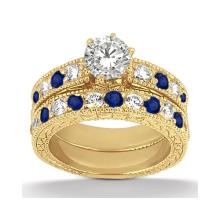 Antique Diamond and Blue Sapphire Bridal Set 14k Yellow Gold (2.50ct) #PAPPS21278