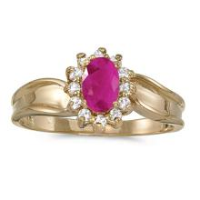 Certified 10k Yellow Gold Oval Ruby And Diamond Ring 0.5 CTW #PAPPS51385