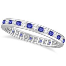 Tanzanite and Diamond Channel-Set Eternity Ring 14k White Gold (1.04ct) #PAPPS53894
