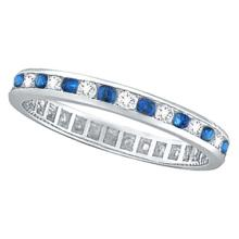 1.04ct Blue Sapphire and Diamond Channel Set Eternity Band Palladium #PAPPS53904
