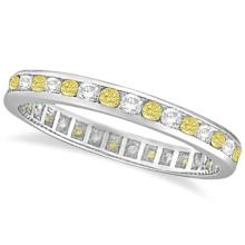Channel-Set Yellow and White Diamond Eternity Ring 14k W Gold (1.00ct) #PAPPS53844