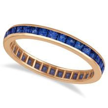 Princess-Cut Blue Sapphire Eternity Ring Band 14k Rose Gold (1.36ct) #PAPPS21241