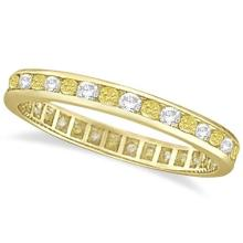 Channel-Set Yellow and White Diamond Eternity Ring 14k Y Gold (1.00ct) #PAPPS53845