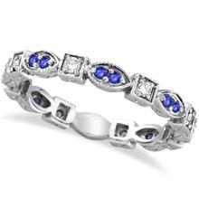 Tanzanite and Diamond Eternity Anniversary Ring Band 14k White Gold #PAPPS53891