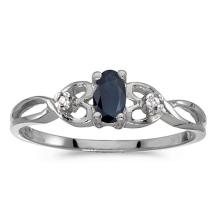Certified 14k White Gold Oval Sapphire And Diamond Ring 0.27 CTW #PAPPS51365