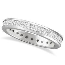 Channel-Set Princess Cut Diamond Eternity Ring 14k White Gold (1.56ct) #PAPPS53901