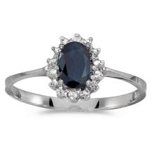 Certified 14k White Gold Oval Sapphire And Diamond Ring 0.41 CTW #PAPPS51204