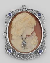 Italian Handcarved Cameo Pin Pendant w/ Sterling Silver Filigree Frame #PAPPS98102